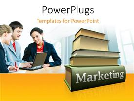 5000 research paper powerpoint templates w research paper themed ppt theme featuring pile of marketing books with three marketers working on laptop publicscrutiny Images
