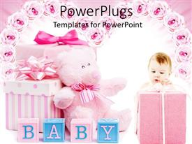 Christening powerpoint templates ppt themes with christening elegant presentation enhanced with pink baby shower gifts for girl blocks teddy bear toneelgroepblik Choice Image