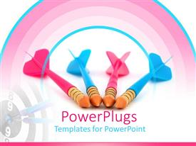 PPT layouts consisting of pink and blue toy darts with bulls eye target, competition