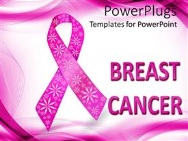 Audience pleasing slide deck featuring pink breast cancer awareness ribbon with glitter flowers, white and pink wave background