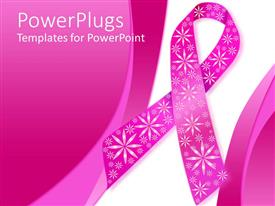 PPT theme having pink breast cancer ribbon with sparkly flowers on a pink and white background