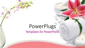 Slide deck enhanced with pink lily with towel, tea light candle, and dish of bath salt on white background