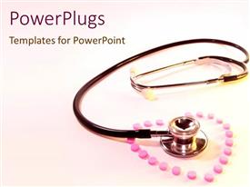 Beautiful theme with pink pills forming shape of heart surrounding a stethoscope of bright pink background
