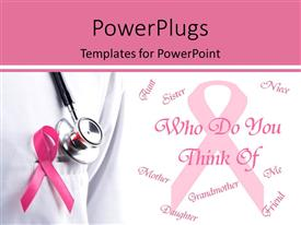 presentation design consisting of pink ribbon and stethoscope remember breast cancer with a question template size presentation design consisting