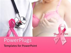 Presentation theme enhanced with pink ribbons depiction breast cancer awareness with a stethoscope