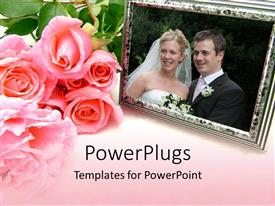 Slides consisting of pink rose bouquet next to wedding photo in silver frame