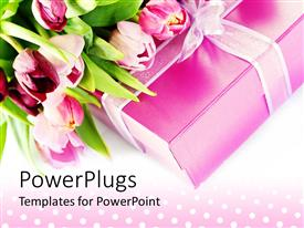 Slide set having pink tulips on pink gift box with ribbon on polka dot background