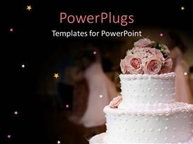 Presentation theme with pink and white wedding cake with roses decoration on top of cake