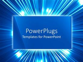 Audience pleasing PPT theme featuring a plain blue colored triangular tile with shinning lights behind it