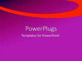 Beautiful presentation design with a plain purple background surface with a thick orange strip