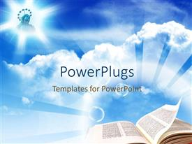 Theme with plain sky background with an open bible page and a picture of Jesus