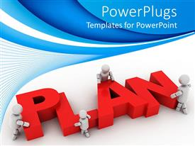 PPT theme having plan ahead graphics strategy for business on a blue background