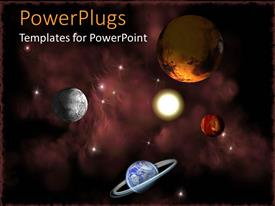PPT theme consisting of planets in space, depiction of Earth, Sun and other planets in the starry galaxy