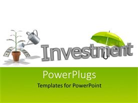 PPT theme having a plant, umbrella with a text that spells out the word