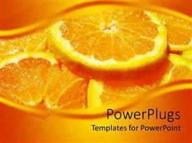 Slide set with plenty slices of an orange on an orange background