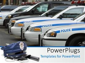Elegant slide deck enhanced with police cars in line with black suv and police hat with stick and hand cuffs