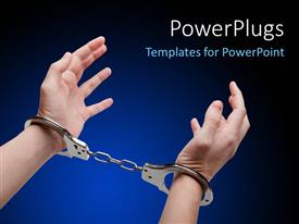 Elegant presentation theme enhanced with police law steel handcuffs arrest criminals human hands over dark background