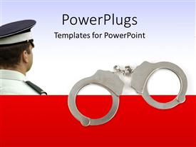 PPT theme with police officer with handcuffs with white color