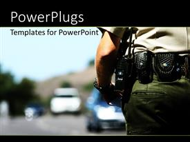 Colorful presentation design having police officer with police radio affixed to belt and blurry background