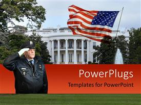 PPT theme featuring police officer with white gloves saluting and white house with american flag