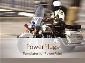Colorful PPT theme having police patrol man on a motor bike on a blurry background