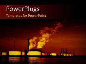 Elegant PPT layouts enhanced with pollution coming out of factories with sea