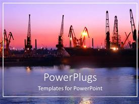 PPT layouts featuring port depiction with naval ships at sunset with river water