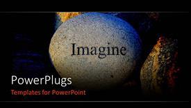 Presentation design featuring word IMAGINE engraved on large rock
