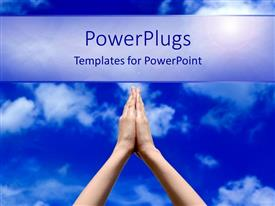 PPT layouts enhanced with prayer concept with praying hands and blue sky, spirituality, religion, faith