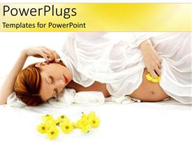 Amazing presentation theme consisting of pregnant woman in white laying next to yellow flowers