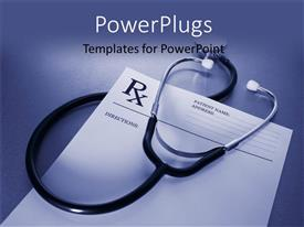 Theme with prescription form and stethoscope on stainless steel desk with blue color