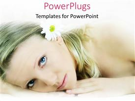 PPT layouts with pretty female lying and staring with a white flower in her hair