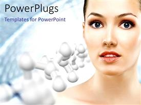 Presentation theme featuring a pretty female on a white background with molecules