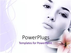 Elegant presentation theme enhanced with a pretty lady with a pink blossom beside her