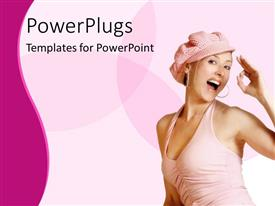 Colorful PPT theme having pretty lady smiling on a pink and white background