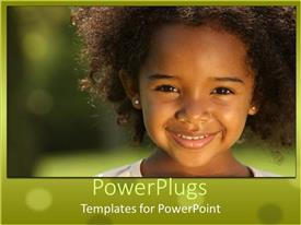 Audience pleasing PPT layouts featuring pretty little girl smiling happily on a blurry background