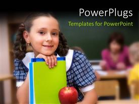 Audience pleasing slide deck featuring a pretty school girl holding some books with  a red apple