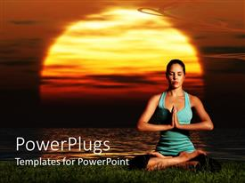 PPT layouts enhanced with pretty skinny lady in blue doing yoga training on grass