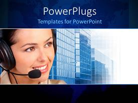 Presentation design consisting of a pretty smiling call center lady with sky scrappers behind