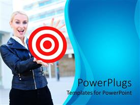 Colorful presentation having a pretty smiling lady holding out a red and white target