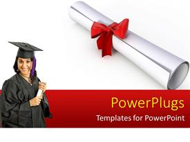 Beautiful PPT layouts with a pretty smiling lady wearing a black graduation gown