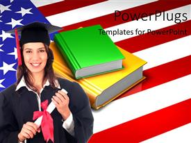 Beautiful PPT theme with a pretty smiling lady wearing an graduation gown with the USA flag behind her