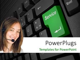 PPT theme enhanced with a pretty smiling lady wearing a head set on a keyboard background