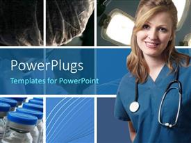 Audience pleasing slide deck featuring a pretty smiling lady wearing a medical out fit and stethoscope