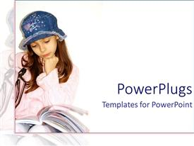 Beautiful PPT layouts with pretty young female reading a book with a blue hat