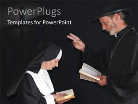Slide deck with a priest and nun praying in deep thoughts depicting christianity with black color