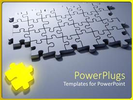 Slide deck consisting of problem solving metaphor with yellow puzzle piece and gray 3D jigsaw