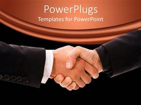 Elegant slide set enhanced with a professional handshake with blackish background