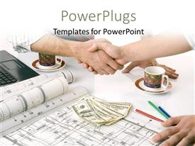 Beautiful PPT layouts with a professional handshake with a number of dollars in background