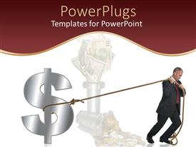 Beautiful PPT theme with a professional holding the dollar sign with the help of a string
